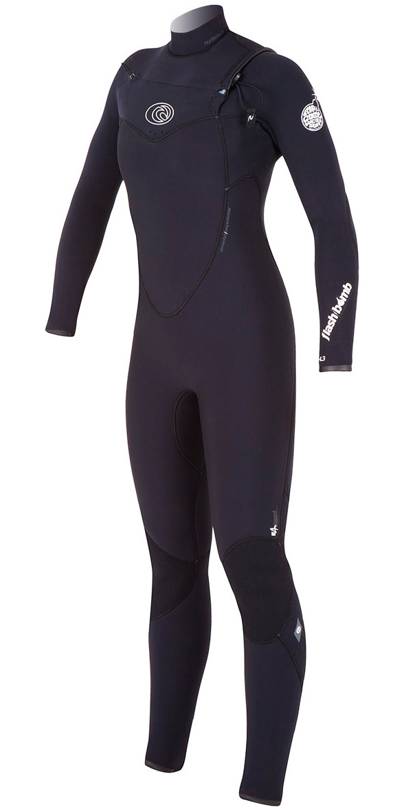 Rip Curl Womens 4 3mm Flashbomb Chest Zip Wetsuit in Black Wsm4fg - Womens  4mm - 4mm Wetsuits  e3315e643